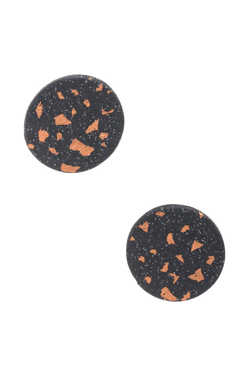 Καρφωτά Σκουλαρίκια Μαύρο Μωσαϊκό Κύκλοι
