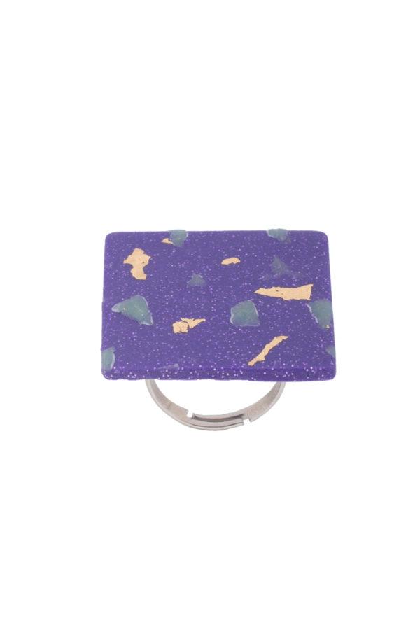 Δαχτυλίδι Μοβ Τετράγωνο Μωσαϊκό