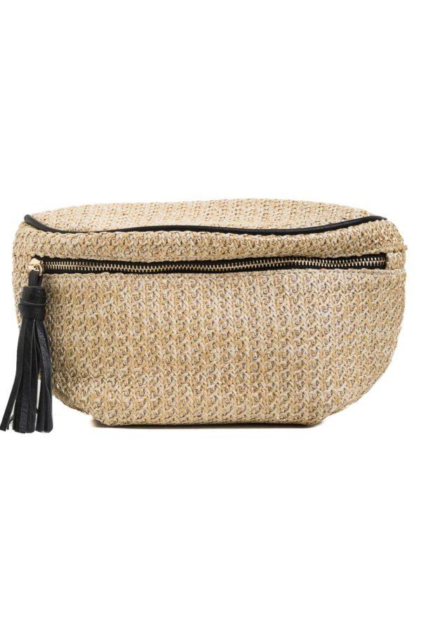 Ψάθινο Τσαντάκι Μέσης Μαύρο Belt Bag