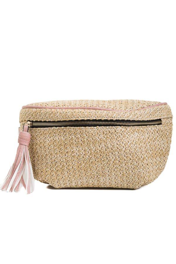 Ψάθινο Τσαντάκι Μέσης Ροζ Belt Bag