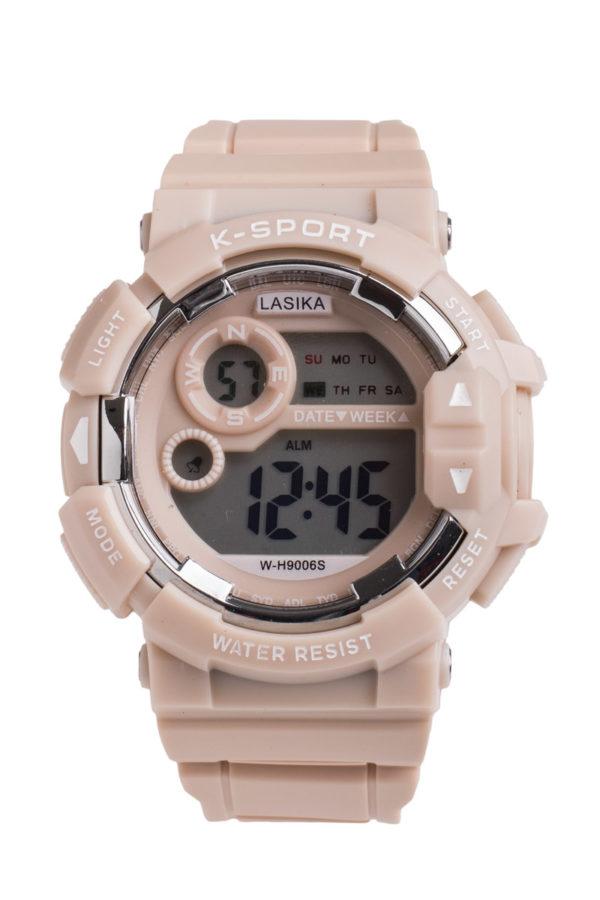 Σπορ Ψηφιακό Ρολόι Χειρός Στρόγγυλο Εκρού Πλαστικό