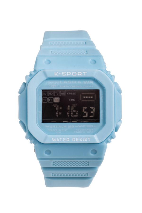 Σπορ Ψηφιακό Ρολόι Χειρός Ορθογώνιο Γαλάζιο Πλαστικό