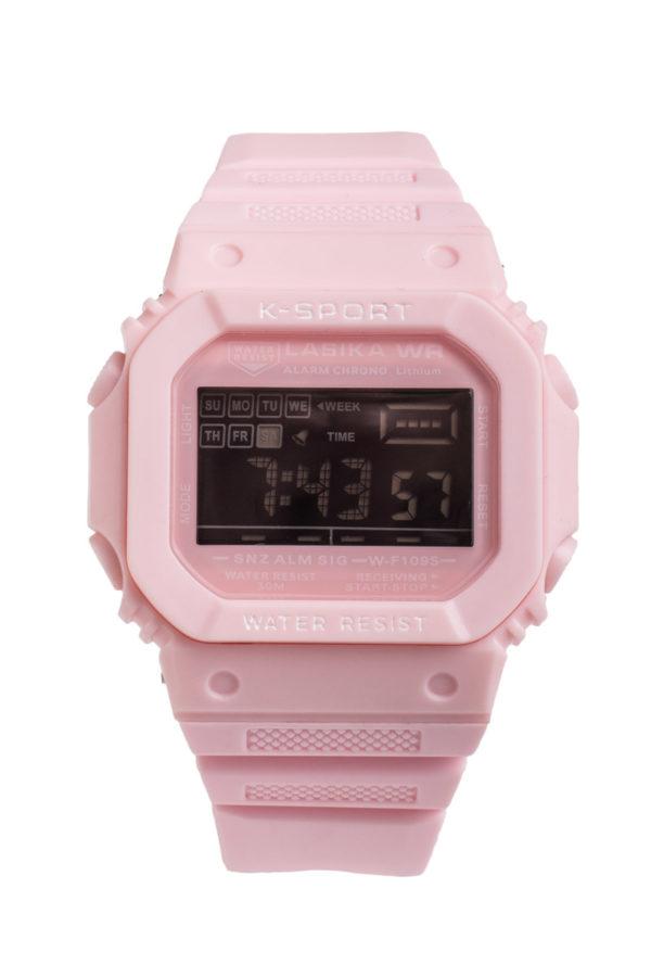 Σπορ Ψηφιακό Ρολόι Χειρός Ορθογώνιο Ροζ Πλαστικό