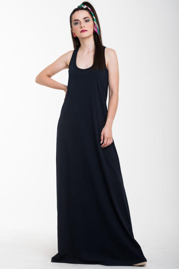 Μπλε Σκούρο Αμάνικο Μακρύ Φόρεμα Με Αθλητική Πλάτη