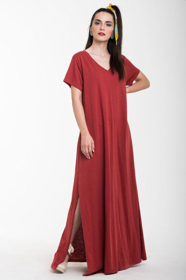 Κεραμιδί Καθημερινό Φόρεμα Μακρύ με Άνοιγμα