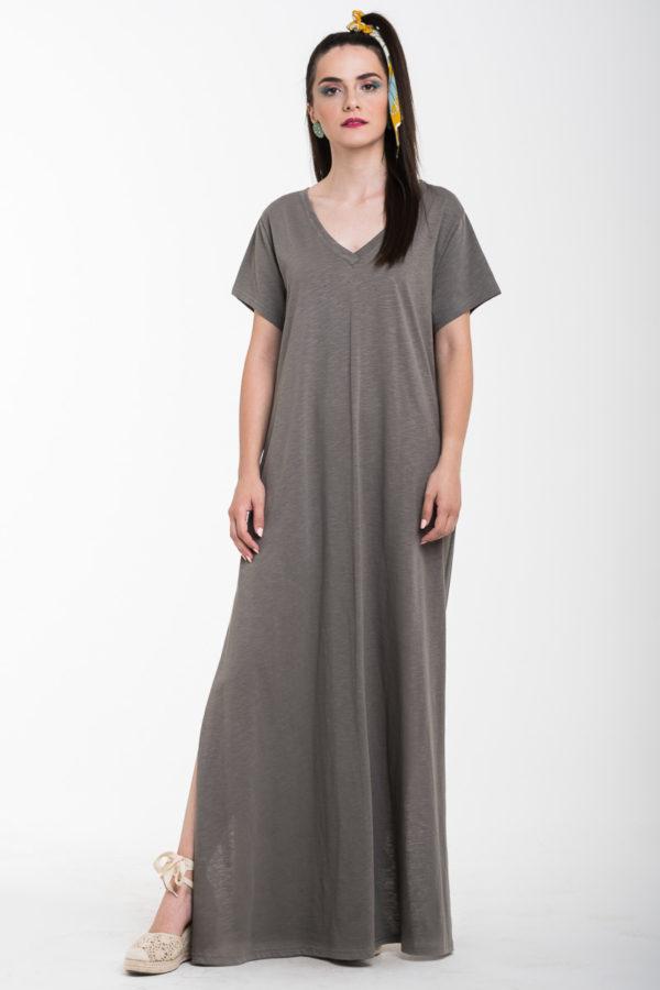 Πούρο Καθημερινό Φόρεμα Μακρύ με Άνοιγμα