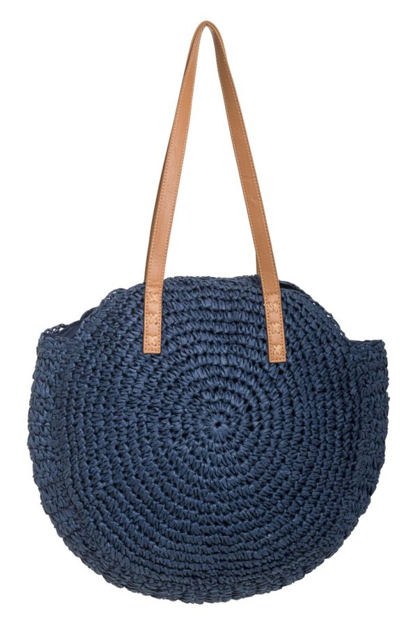 Στρόγγυλη Γυναικεία Τσάντα Ώμου Ψάθα Μπλε