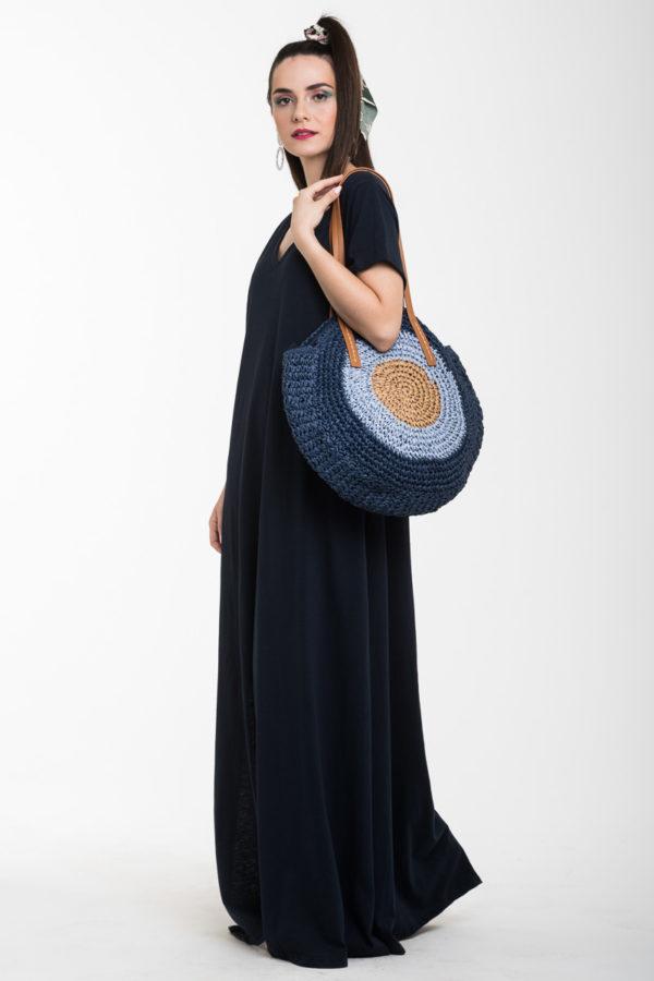 Στρόγγυλη Γυναικεία Τσάντα Ώμου Ψάθα Μάτι Μπλε