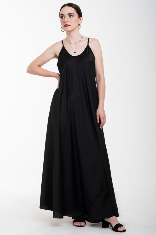 Τιραντέ Αέρινο Φόρεμα Μακρύ Σατέν Μαύρο