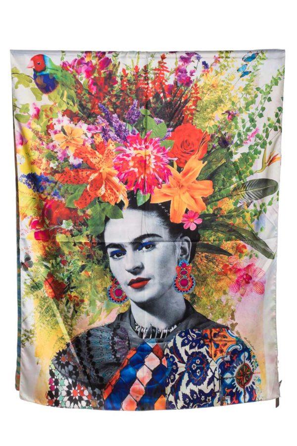 Μεταξωτή Πασμίνα Frida Kahlo Πίνακας Μαντήλι Φουλάρι