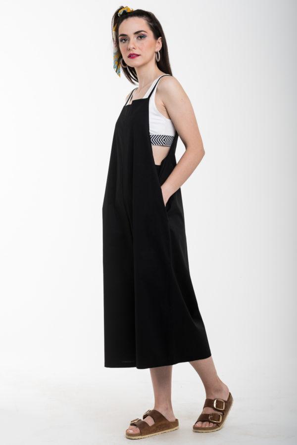 Μαύρη Φαρδιά Ολόσωμη Φόρμα Κάπρι