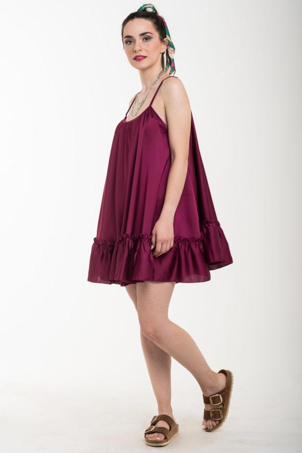 Μοβ Τιραντέ Αέρινο Φόρεμα Σατέν Κοντό