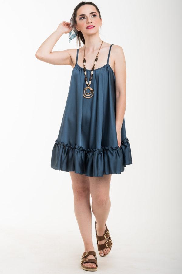 Πετρόλ Τιραντέ Αέρινο Φόρεμα Σατέν Κοντό