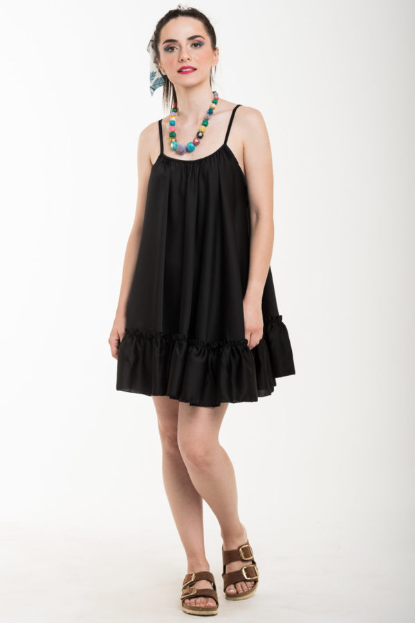 Μαύρο Τιραντέ Αέρινο Φόρεμα Σατέν Κοντό