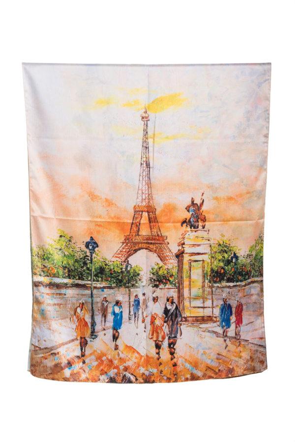 Μεταξωτή Πασμίνα Paris Eiffel Πίνακας Μαντήλι Φουλάρι
