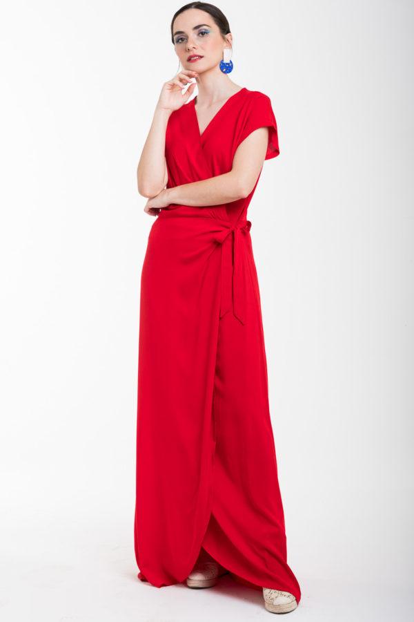 Κόκκινο Δετό Φόρεμα Μακρύ Κρουαζέ
