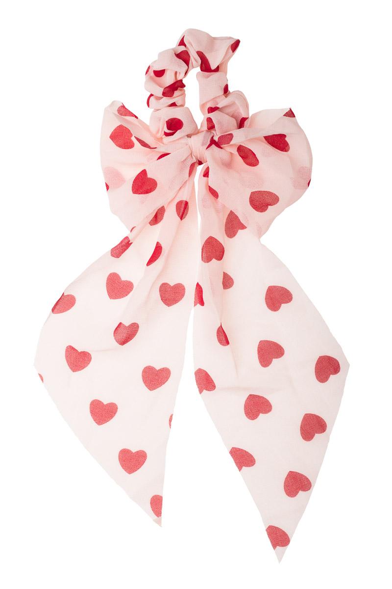 Ροζ Scrunchie Σούρα Μαλλιών με Φιόγκο Μαντήλι Καρδιές Πουά