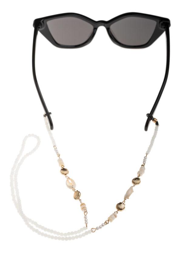 Άσπρη Αλυσίδα Γυαλιών Με Κοχύλια & Χάντρες