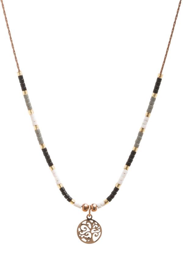 Κοντό Κολιέ Χρυσαφί με Δέντρο & Χάντρες Μαύρες