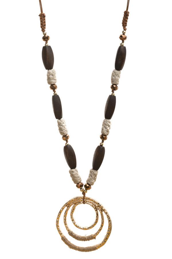 Μακρύ Κολιέ Με Εκρού Πέτρες & Χρυσαφί Κύκλους