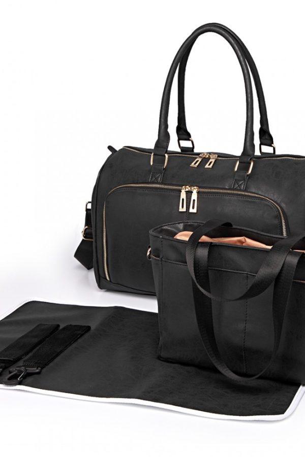 Μαύρη Τσάντα Αλλαξιέρα Leather Look 3 Pcs