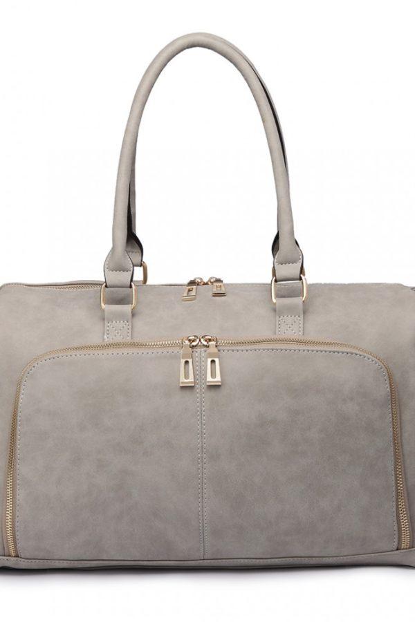 Ανοιχτό Γκρι Τσάντα Αλλαξιέρα Leather Look 3 Pcs