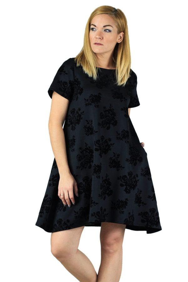 Lovender Κοντομάνικο Φόρεμα Βελούδο Ανάγλυφο
