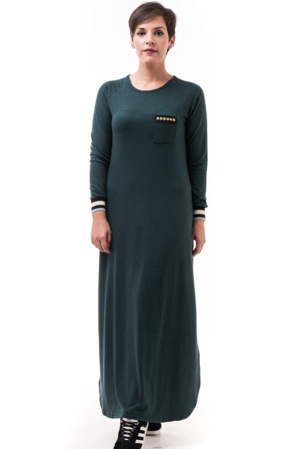 Πράσινο Μακρύ Φόρεμα με Αστέρια Χρυσά