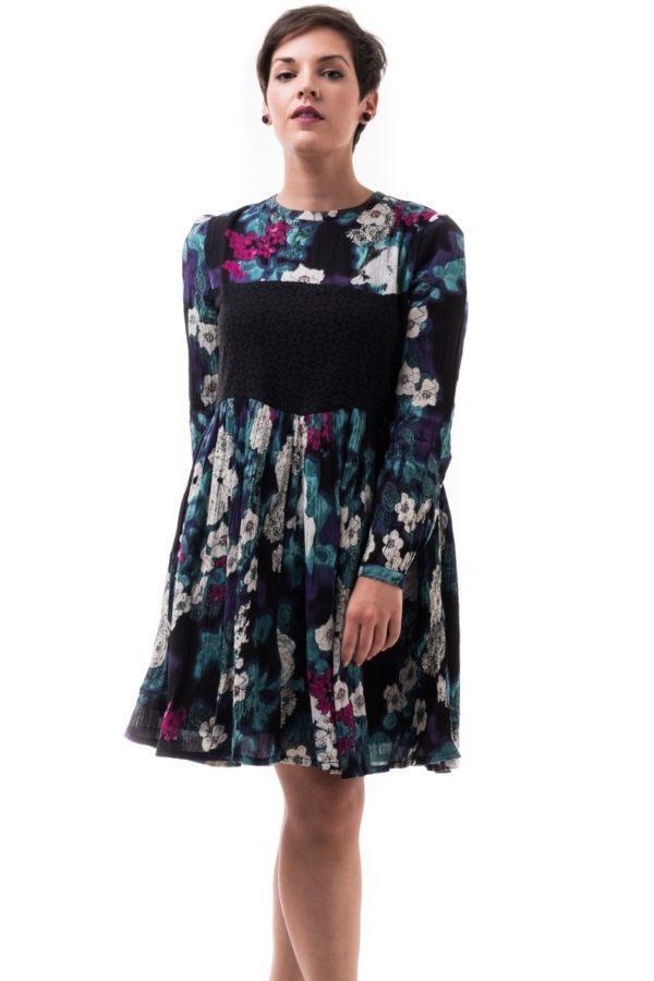 Φλοράλ Κοντό Φόρεμα με Δαντέλα Μαύρη