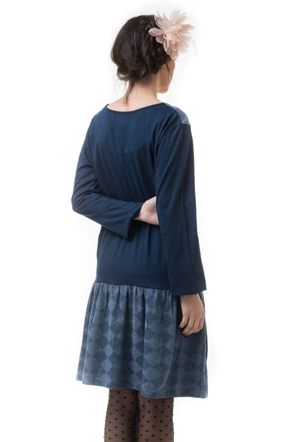 Μπλε Κοντό Φόρεμα με Βολάν