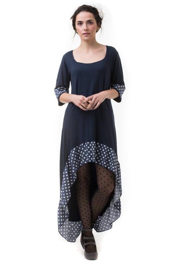 Μπλε Φόρεμα με Ουρά & Πουά Βολάν