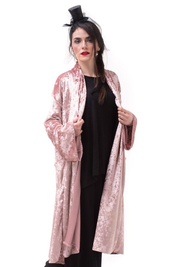 Ροζ Βελούδινη Ζακέτα