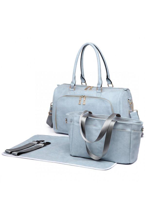 Γαλάζια Τσάντα Αλλαξιέρα Leather Look 3 Pcs