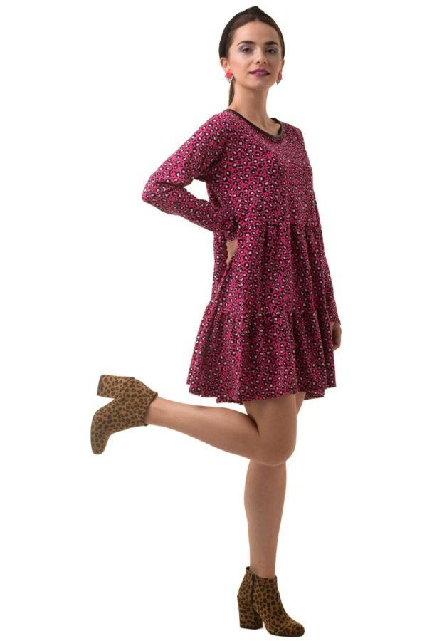 Φούξια Λεοπάρ Φόρεμα με Βολάν