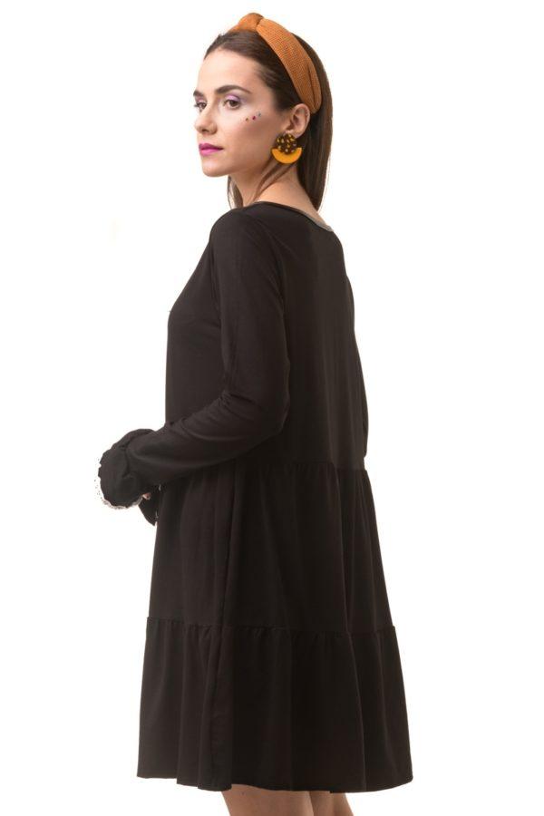 Μαύρο Φόρεμα με Βολάν & Καμπάνα Μανίκι