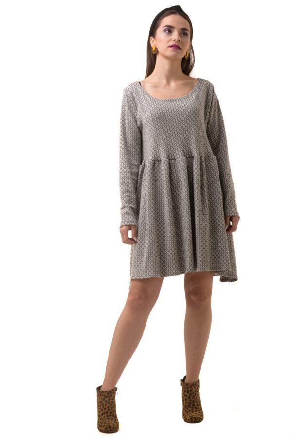 Γκρι Κοντό Φόρεμα με Ρόμβους