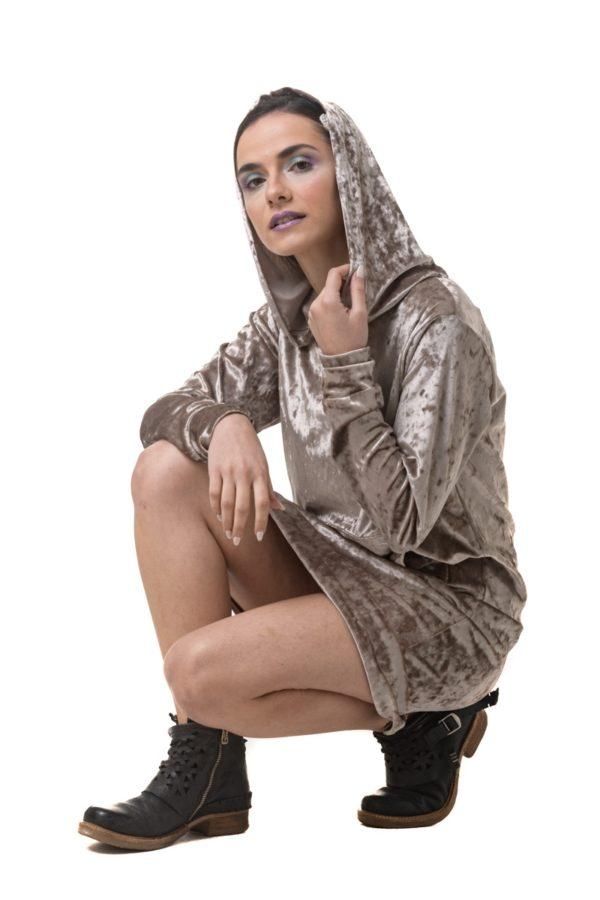 Χρυσαφί Βελούδινο Φόρεμα με Κουκούλα