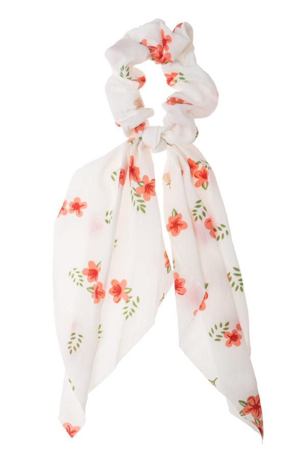 Άσπρο Φλοράλ Scrunchie Σούρα Μαλλιών με Φιόγκο Μαντήλι