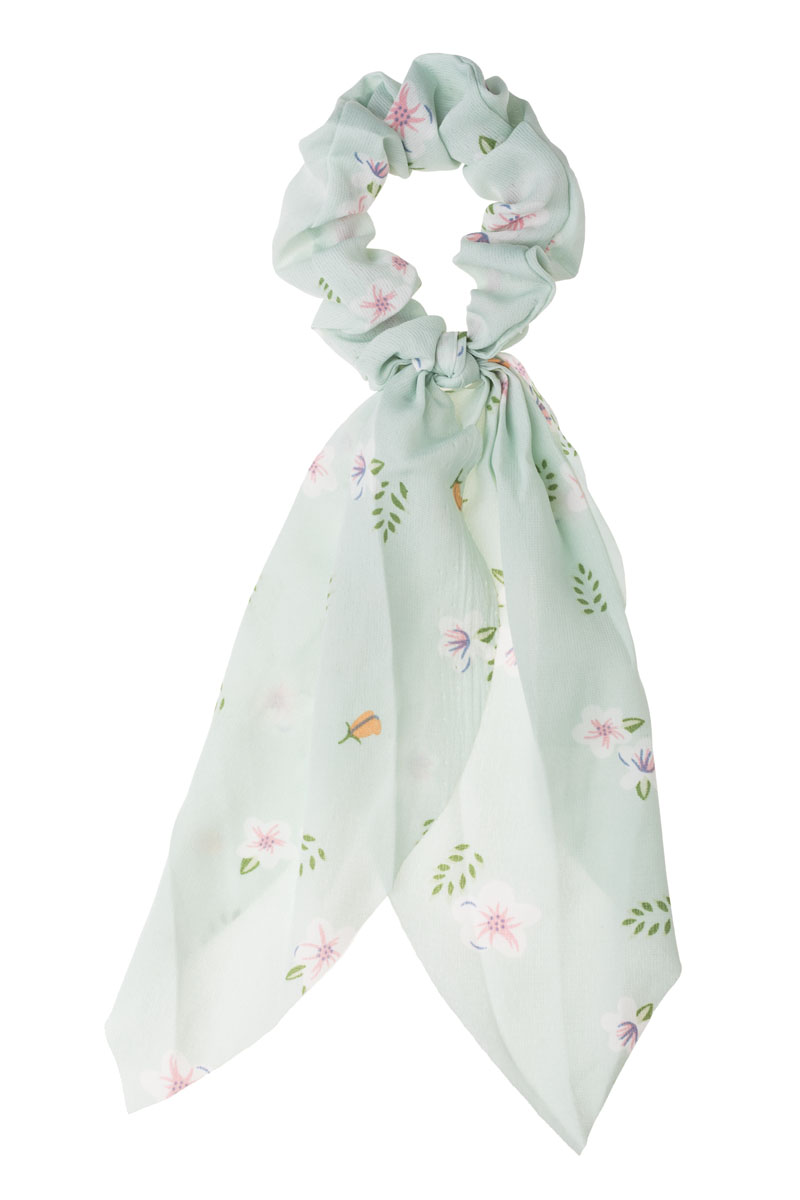 Mint Φλοράλ Scrunchie Σούρα Μαλλιών με Φιόγκο Μαντήλι