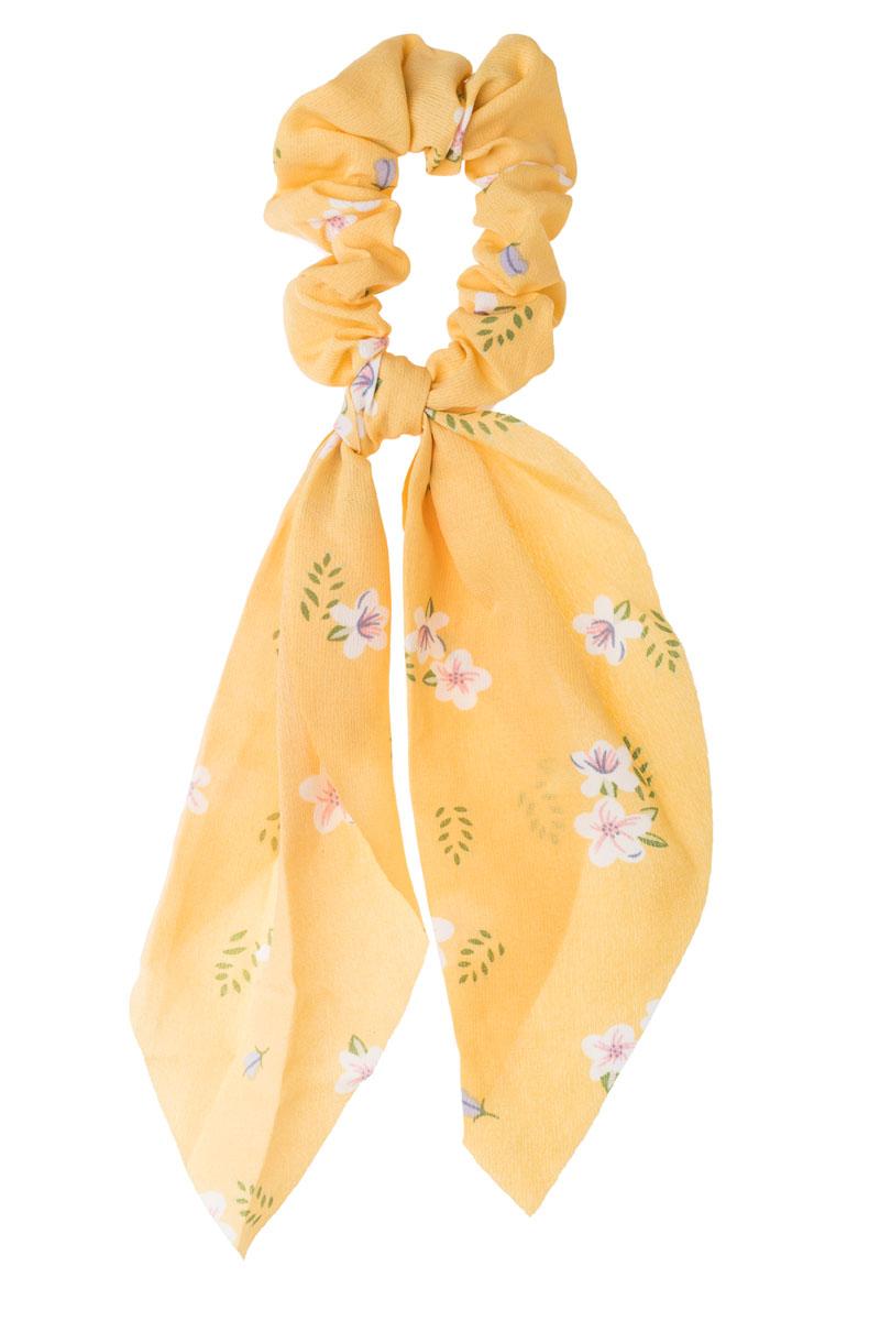 Ώχρα Φλοράλ Scrunchie Σούρα Μαλλιών με Φιόγκο Μαντήλι