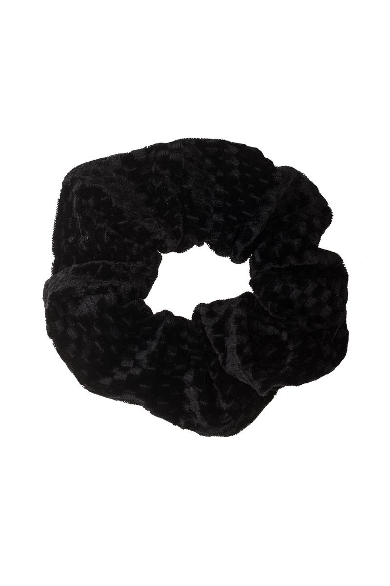 Μαύρα Τετράγωνα Scrunchie Σούρα Μαλλιών Βελούδινη
