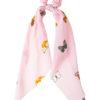 Ροζ Πεταλούδες Scrunchie Σούρα Μαλλιών με Μαντήλι
