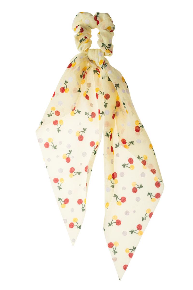 Κίτρινα Κερασάκια Scrunchie Σούρα Μαλλιών με Μαντήλι