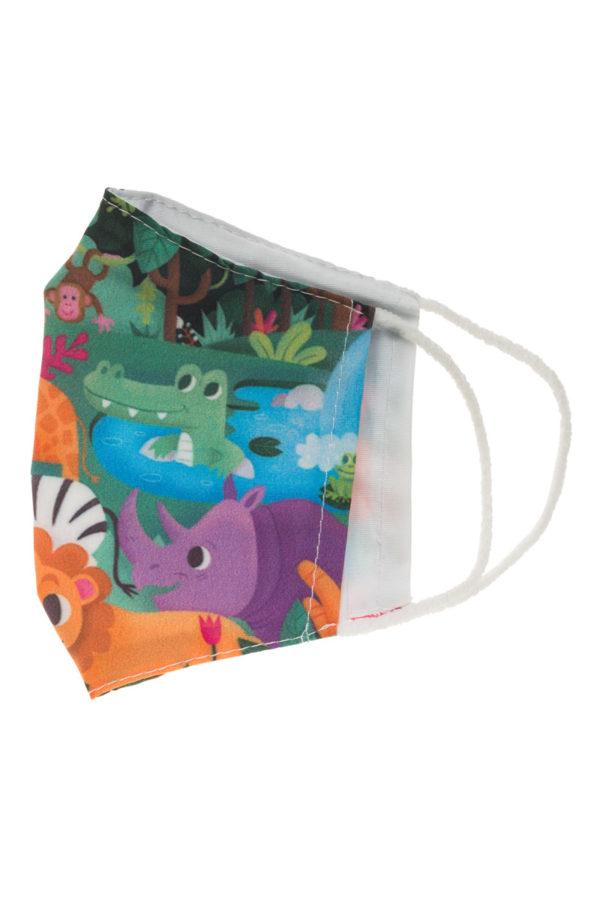 Ζούγκλα με Ζώα Παιδική Υφασμάτινη Μάσκα Επαναχρησιμοποιούμενη