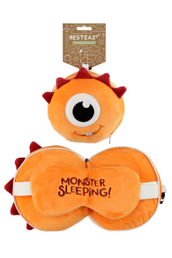 Στρόγγυλη Μάσκα Ύπνου - Μαξιλάρι Relaxeazzz Monstarz Πορτοκαλί