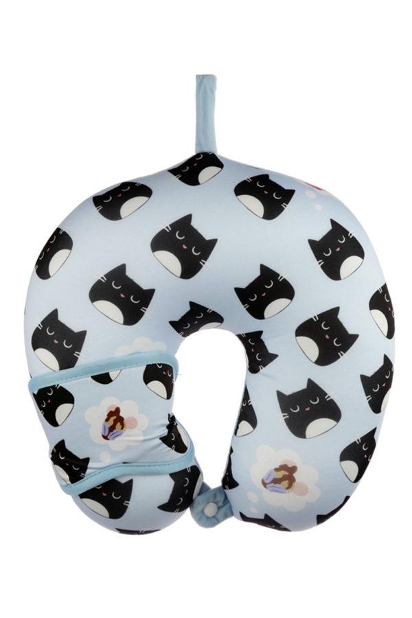 Travel Set Μάσκα Ύπνου & Μαξιλάρι Αυχένα Relaxeazzz Feline Γάτα