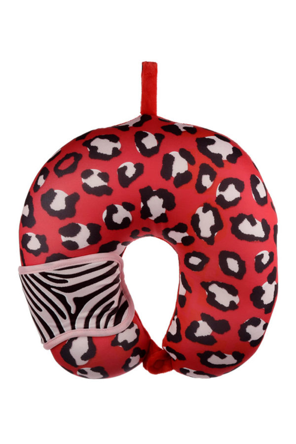 Travel Set Μάσκα Ύπνου & Μαξιλάρι Αυχένα Relaxeazzz Red Animal Print