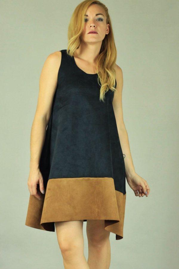 Lovender Σουέντ Φόρεμα Με Φάσα Καφέ