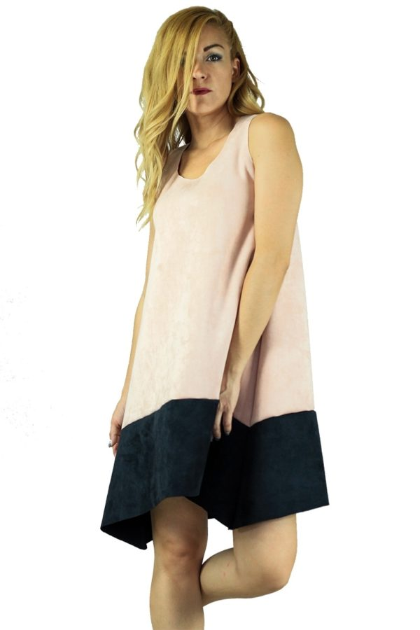 Lovender Ροζ Φόρεμα Suede Κοντό με Φάσα Μαύρη