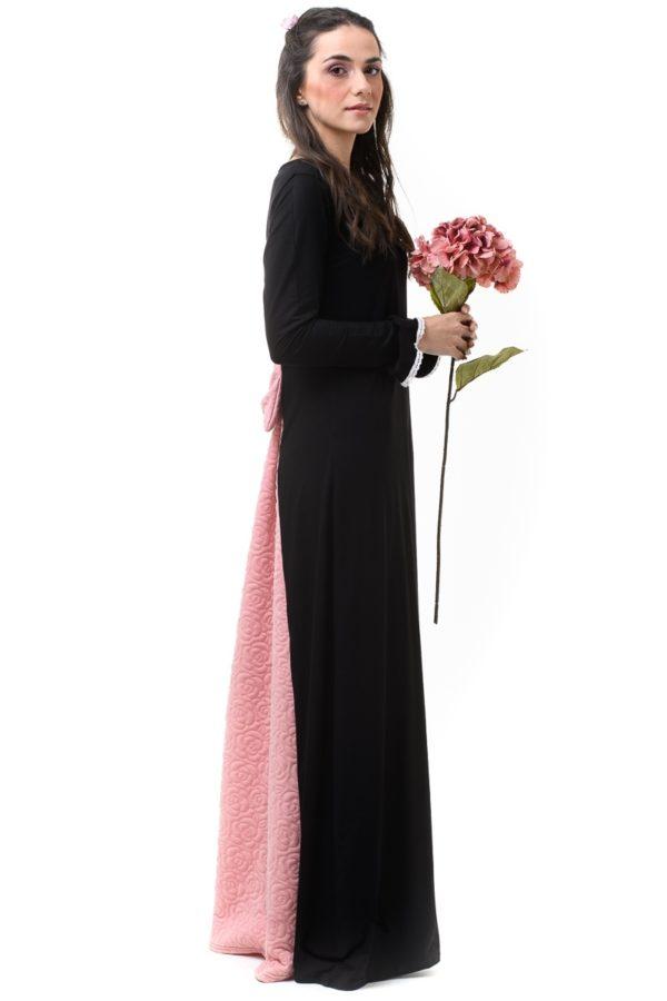 Μαύρο Φόρεμα Μακρύ με Φιόγκο & Ουρά Ροζ Καπιτονέ